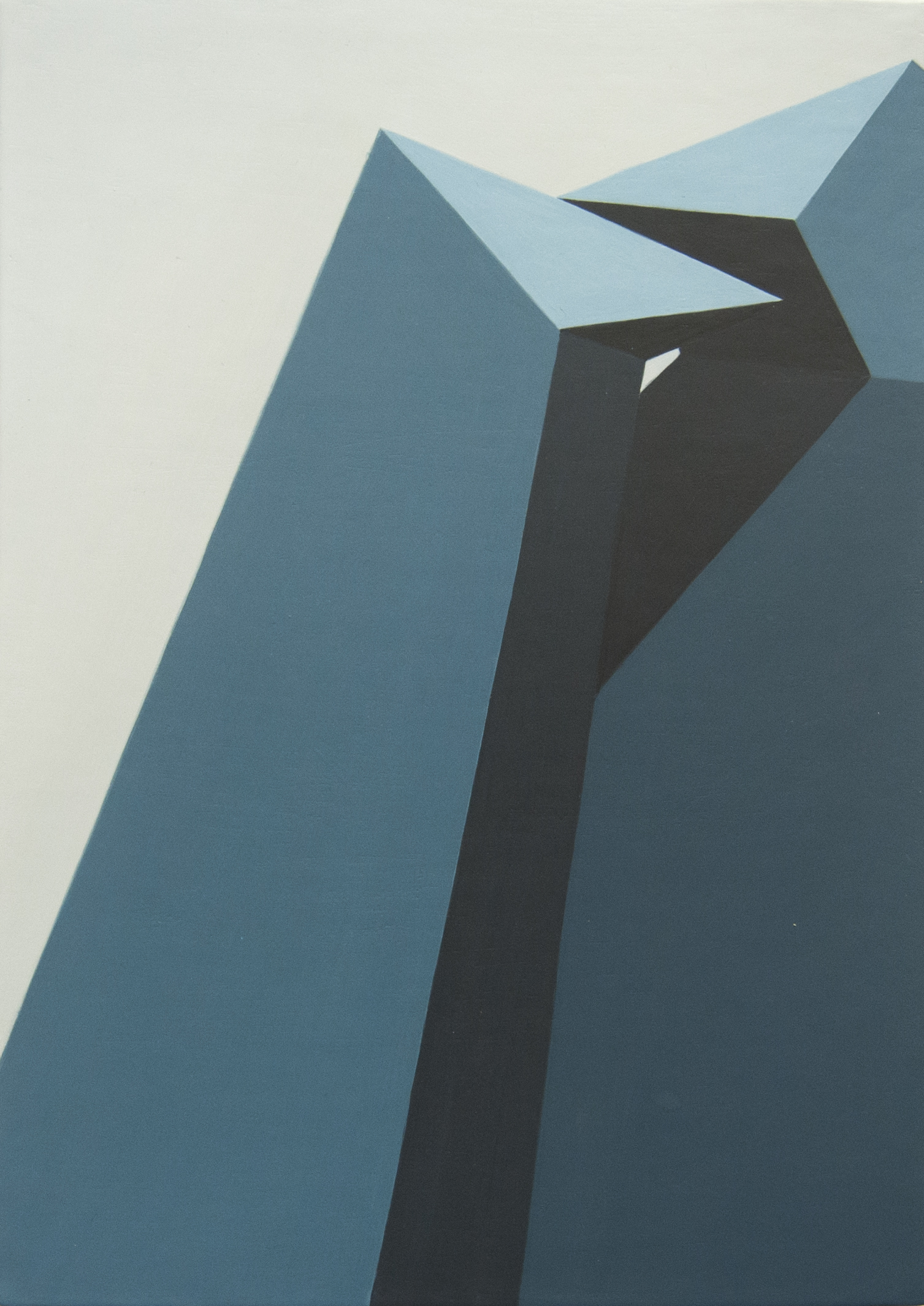 Geometric Blue Acrylic Painting On Canvas Panel By Artist Roberto Chessa