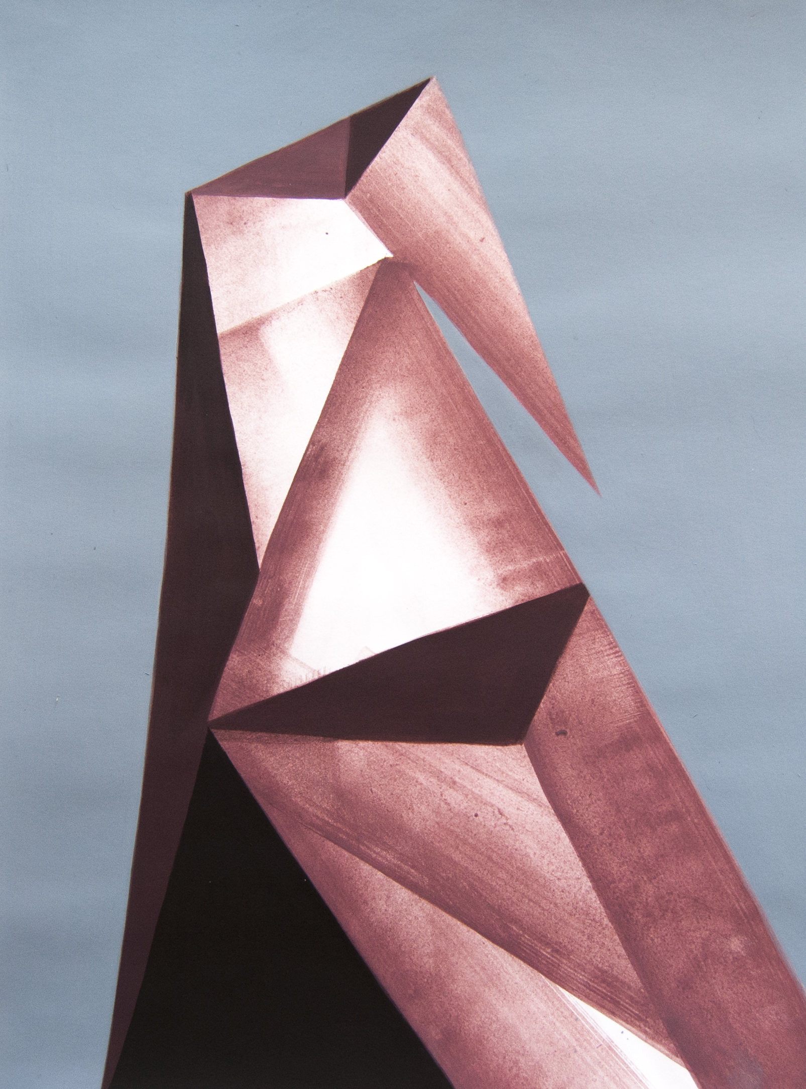 Geometric Acrylic Painting On Paper By Artist Roberto Chessa